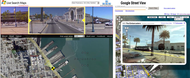 Google Streetview und Microsoft Virtual Earth preview