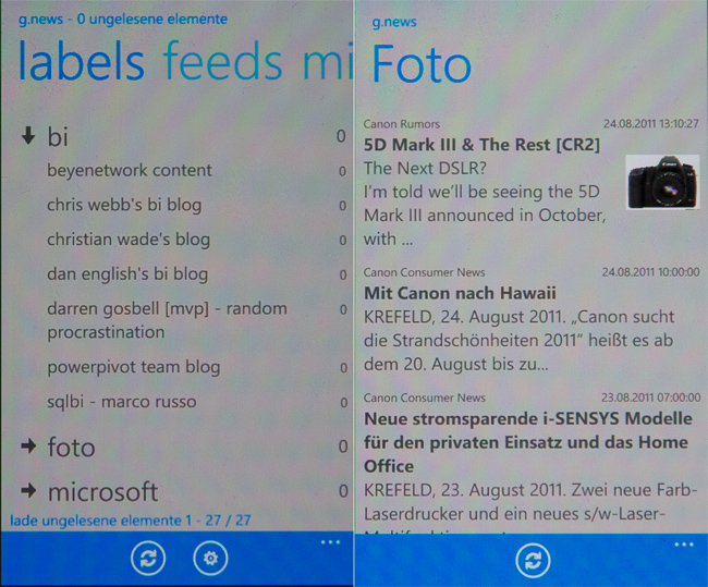 Windows Phone 7 Applikation Google News